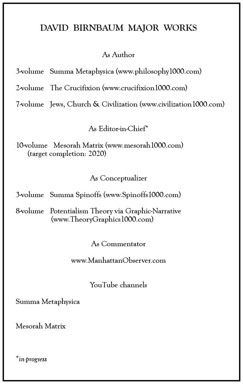 DAVID BIRNBAUM MAJOR WORKS As Author 3-volume Summa Metaphysica (www.philosophy1000.com) 2-volume The Crucifixion (www.crucifixion1000.com) 7-volume Jews, Church & Civilization (www.civilization1000.com) As Editor-in-Chief* 10-volume Mesorah Matrix (www.mesorah1000.com) (target completion: 2020) As Conceptualizer 3-volume Summa Spinoffs (www.Spinoffs1000.com) 8-volume Potentialism Theory via Graphic-Narrative (www.TheoryGraphics1000.com) As Commentator www.ManhattanObserver.com YouTube channels Summa Metaphysica Mesorah Matrix *in-progress
