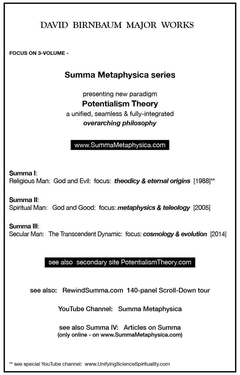 DAVID BIRNBAUM MAJOR WORKS FOCUS ON 3-VOLUME - Summa Metaphysica series presenting new paradigm Potentialism Theory a unified, seamless & fully-integrated overarching philosophy www.SummaMetaphysica.com Summa I: Religious Man: God and Evil: focus: theodicy & eternal origins [1988]** Summa II: Spiritual Man: God and Good: focus: metaphysics & teleology [2005] Summa III: Secular Man: The Transcendent Dynamic: focus: cosmology & evolution [2014] see also secondary site PotentialismTheory.com see also: RewindSumma.com 140-panel Scroll-Down tour YouTube Channel: Summa Metaphysica see also Summa IV: Articles on Summa (only online - on www.SummaMetaphysica.com) ** see special YouTube channel: www.UnifyingScienceSpirituality.com